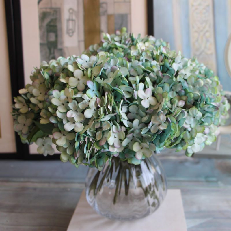 7 farver 1Bunch / 3PCs Kunstig blomst Falsk Snowball Hydrangea Bouquet Jul Bryllup Arrangement Home Decoration