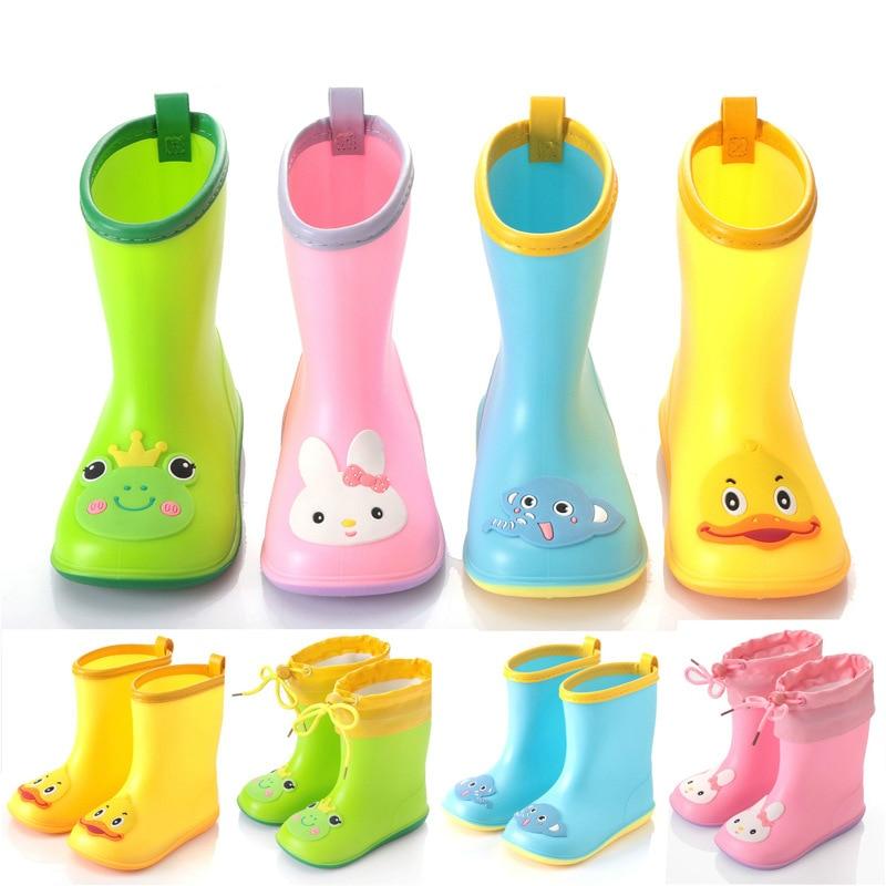 Непромокаемые ботинки для мальчиков и девочек, сапоги от дождя из ПВХ водяная обувь, детская мультяшная водонепроницаемая обувь, всесезонн...