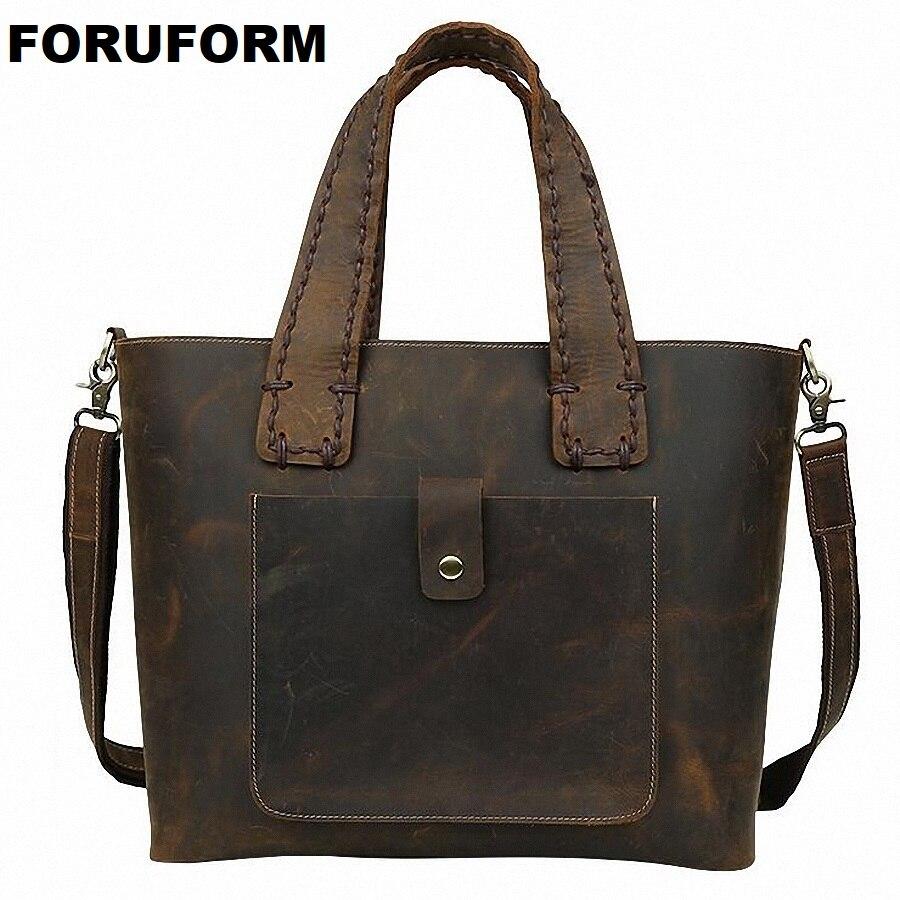 Vintage Men Briefcase Business Genuine Leather Bag Men Messenger Bags Brown 16 Laptop Handbag Bag Mens Travel Bags LI-1360