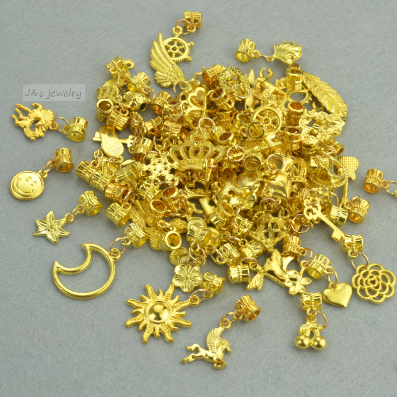 Metal Charm Bracelets: New 50pcs Mixed Wholesale Metal Charms Gold Big Hole Bead