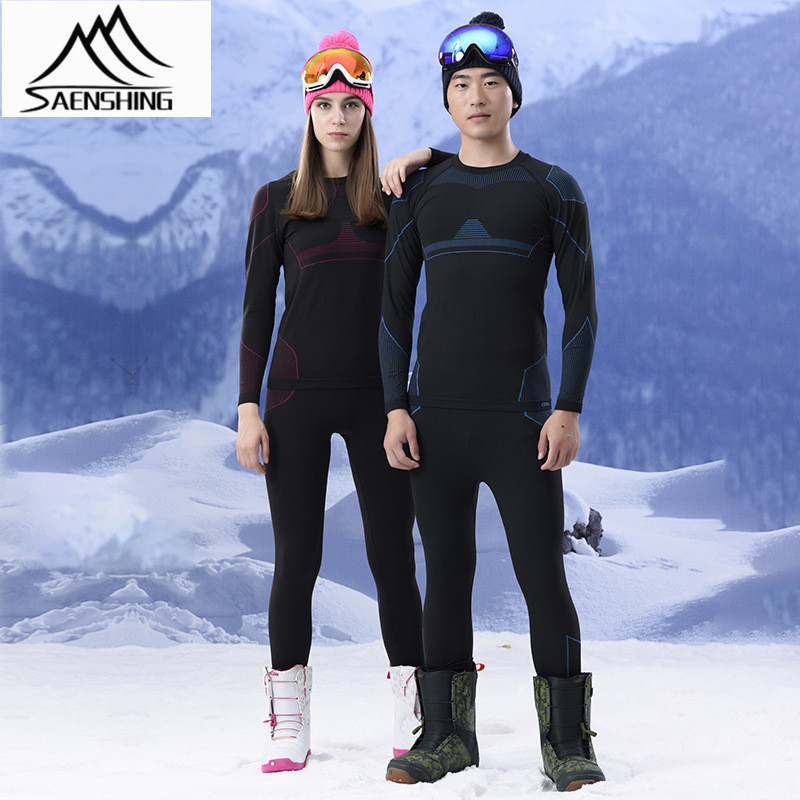SAENSHING GSOU SNOW Ski Underwear Set Women Men Winter Ski Suit Thermal High Elastic Breathable Ski Jacket Snowboard Pants Cheap brand gsou snow technology fabrics women ski suit snowboarding ski jacket women skiing jacket suit jaquetas feminina girls ski