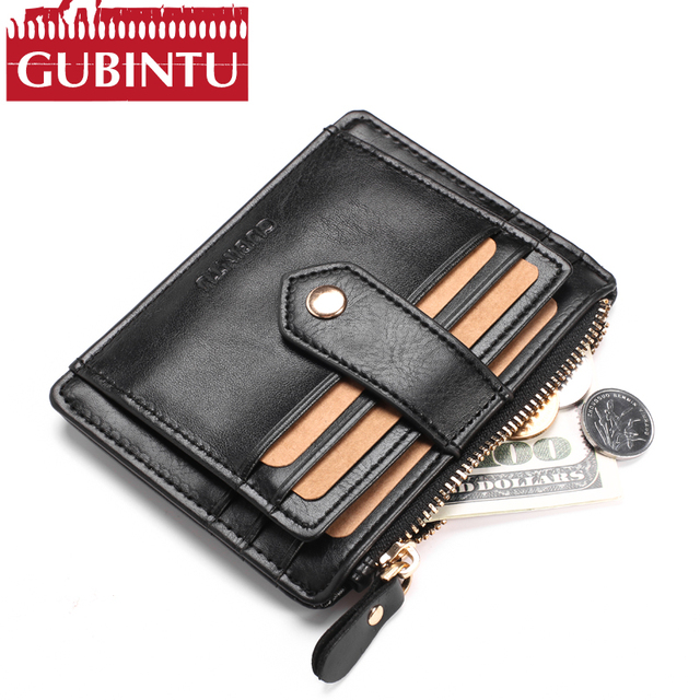 503cb9b3875e GUBINTU Brand New PU Leather Thin Mini Wallet Small Wallets Men Purse Women  Zipper Credit Card Holder Coin Purse Fashion Wallets