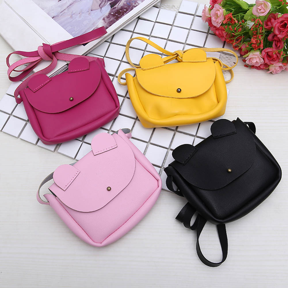 Hot Sale Crossbody Sling PU Leather Cute Cartoon Ears Kids Girls Shoulder Bag Children Small Coin Wallet Handbag Gift