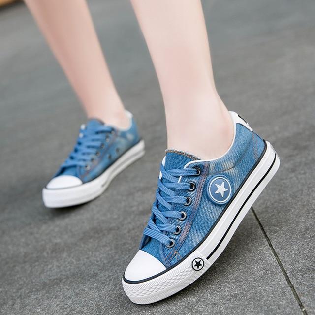SYTAT unisex Canvas Shoes Star Casual Shoe Trainers Walking Skate Shoes Flats Tenis Chaussure Femmes Denim shoes Plus Size