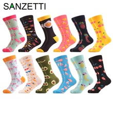 SANZETTI 12 pairs/lot Men's Funny Combed Cotton Novelty Casual Crew Socks Socks for