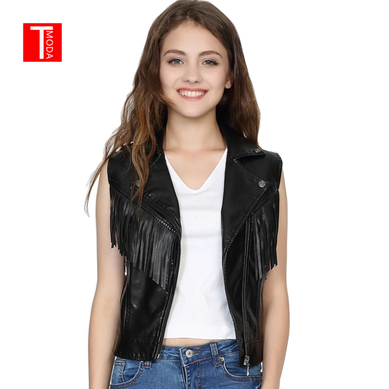 2018 New Fashion Women Spring Autunm Black Faux   Leather   Vest Jackets Lady Bomber Motorcycle Cool Outerwear Tassel Coat Zipper