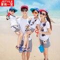 Estilo del verano familia ropa a juego familia conjunto de ropa para la madre y el hijo hija padre Matching Cotton grandes tamaños uniforme
