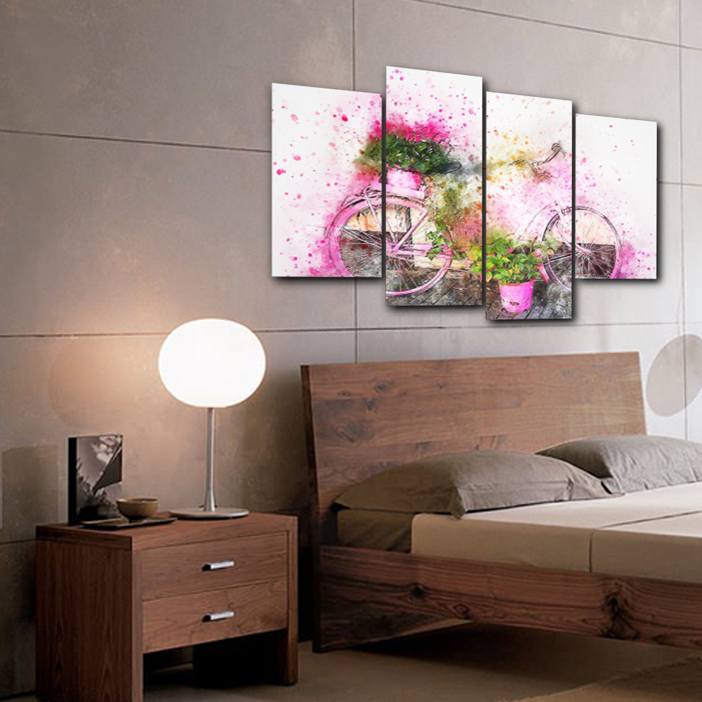 Laeacco 4 Panel Watercolor Bike Flower Wall Artwork Posters Prints Canvas Painting Nordic Home Living Room Wedding Decoration in Painting Calligraphy from Home Garden