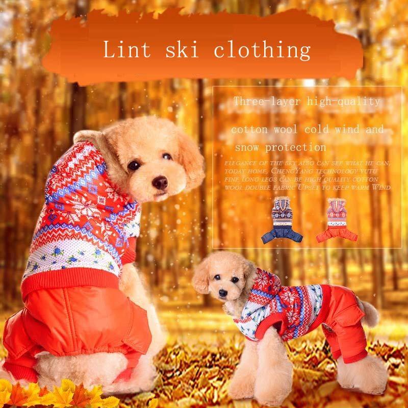 Pet Dog Cat Thicken Warm Winter Ski Suit Dog Four Legs Jumpsuit Overalls Clothes Cotton Fashion Waterproof Dog Down Parkas Coat