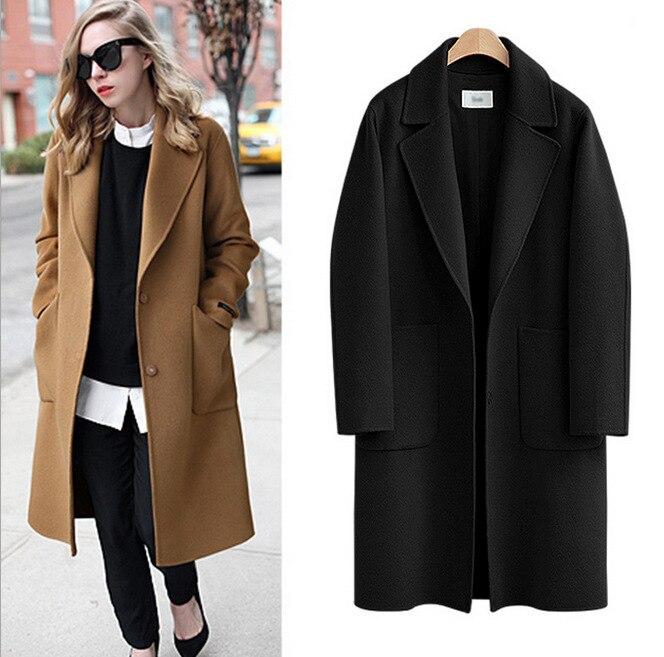 С длинным рукавом зимнее шерстяное пальто Для женщин Европы Стиль большой Размеры Casaco Feminino женские осенние новые тонкие длинные шерстяные ...
