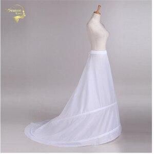 Image 1 - Novia Enaguas Onderrok Bruiloft Rok Slip Bruiloft Accessoires Chemise 2 Hoops Voor Een Lijn Staart Jurk Petticoat Crinoline 039