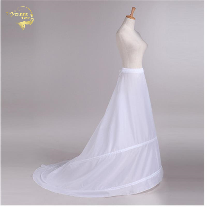 Novia Enaguas Underskirt Wedding Skirt Slip Wedding Accessories Chemise  2 Hoops For A Line Tail Dress Petticoat Crinoline 039