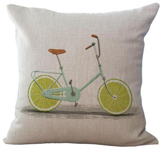 Fabrik Versorgungs Einfachen Stil Obst Fahrrad Leinen Dekorative Dekokissen  Wohnzimmer Stuhl Sitz Rückenlehne Kissen Großhandel