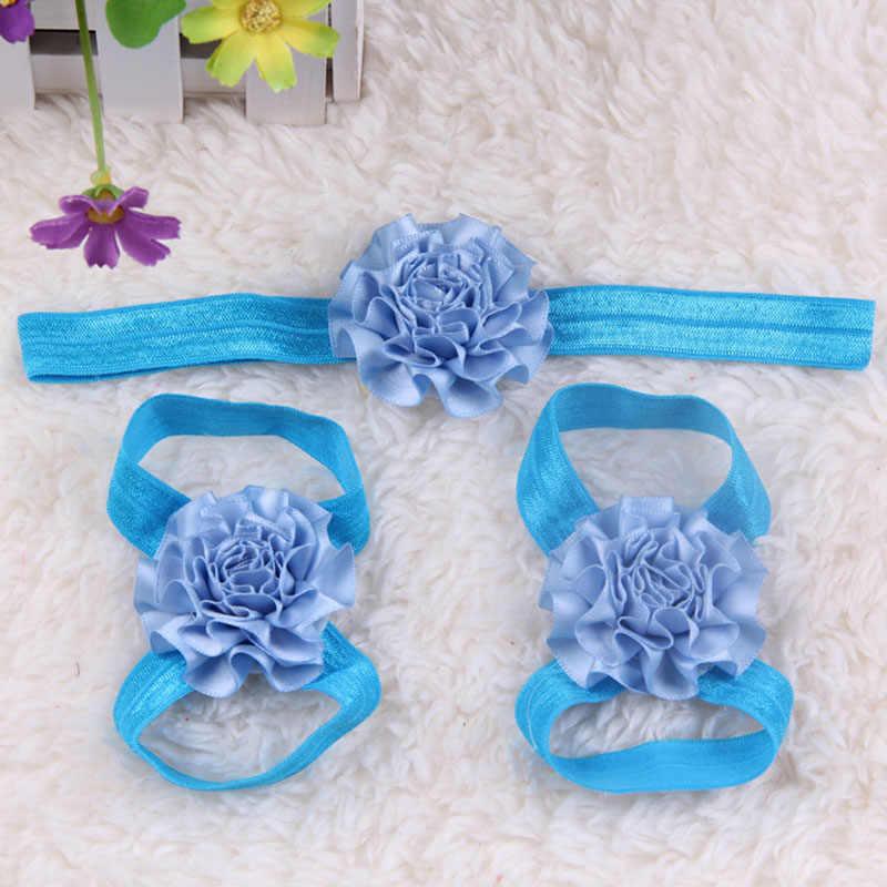 3 pcs יילוד תינוקת ילדים יחפים סנדלי נעלי גביש סרט פרח תחרה רגל להקת מוצק יפה מתנות מסיבת יום הולדת חדש