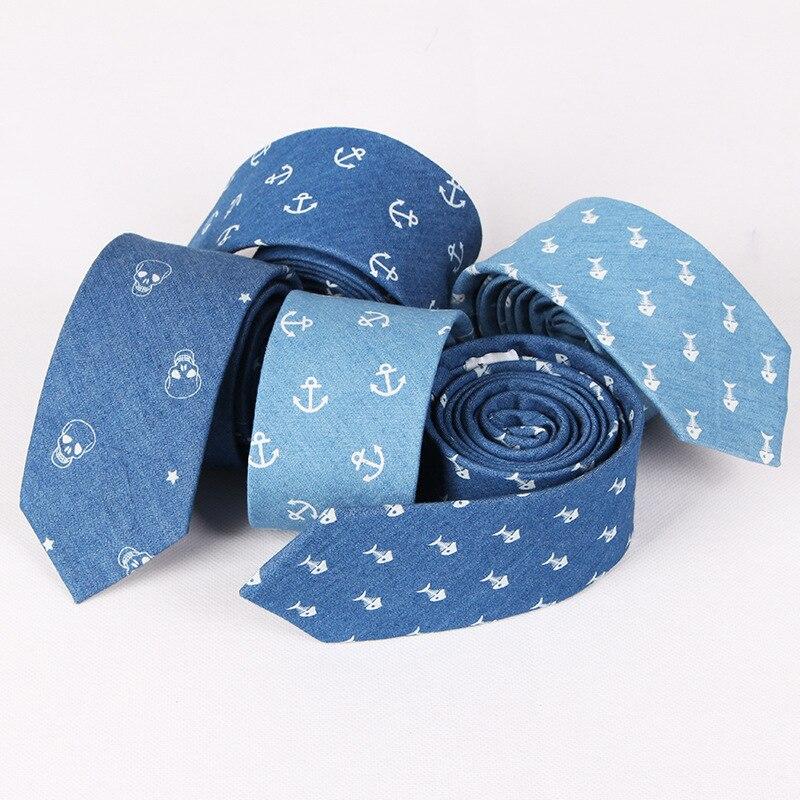 TagerWilen Men's Denim Cotton Tie 6.5cm Slim Skinny Narrow Skull Anchor Floral Necktie Gravata Wedding Party Gift T-14
