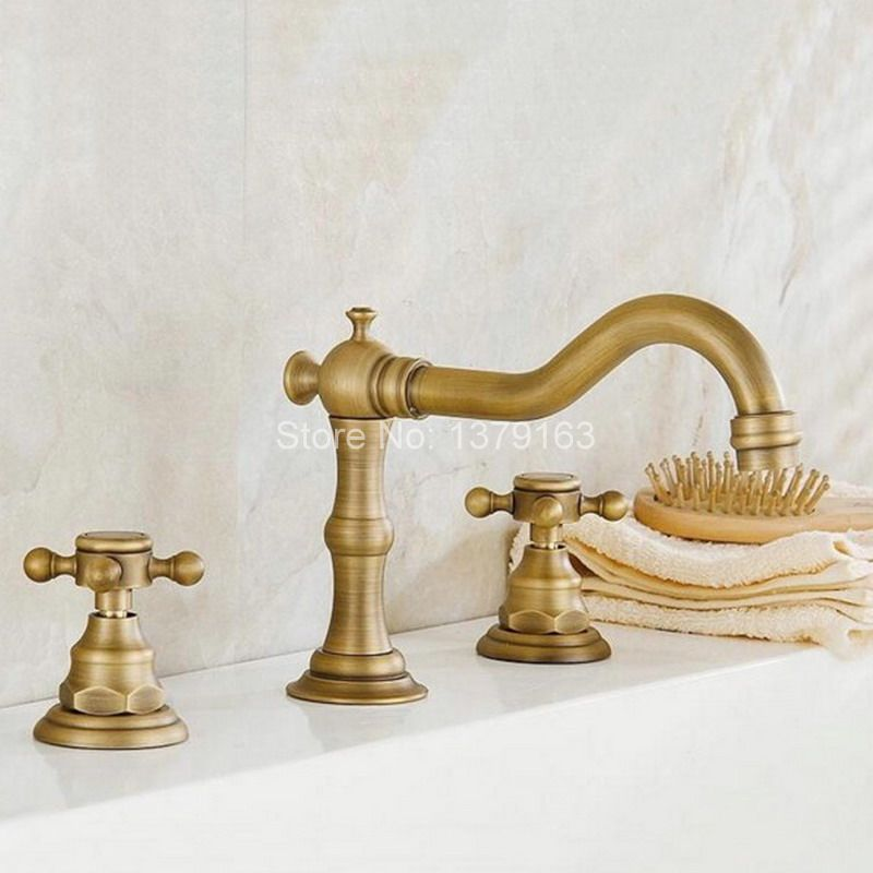 Deck Mounted 3 Holes Bath Tub Mixer Tap Vintage Retro Antique Brass Widespread 2 Handles bathroom basin Faucet anf023 antique brass telephone style handheld shower head dual handles bath tub mixer tap wall mounted bathroom faucet wtf312