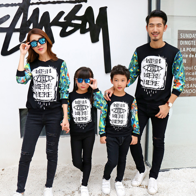 1pc Family Matching Sweatshirts Spring Autumn Dad Son Mom Kids Girl Casual Printed Long Sleeve Shirt Moeder en Dochter Outfits