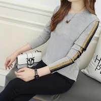 Herbst frauen Baumwolle dünne t Hemd beiläufige Lose Grau streifen langarm T-shirts weiblichen koreanischen stil tops plus größe 3XL 4XL 5XL