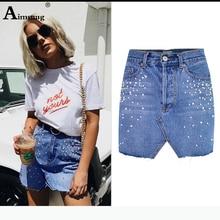 купить Women Pearl Beading Short Denim Skirt Irregular Pocket Button Jeans Skirt Female Blue Casual Cut Hem Cute Denim A Line Skirts онлайн