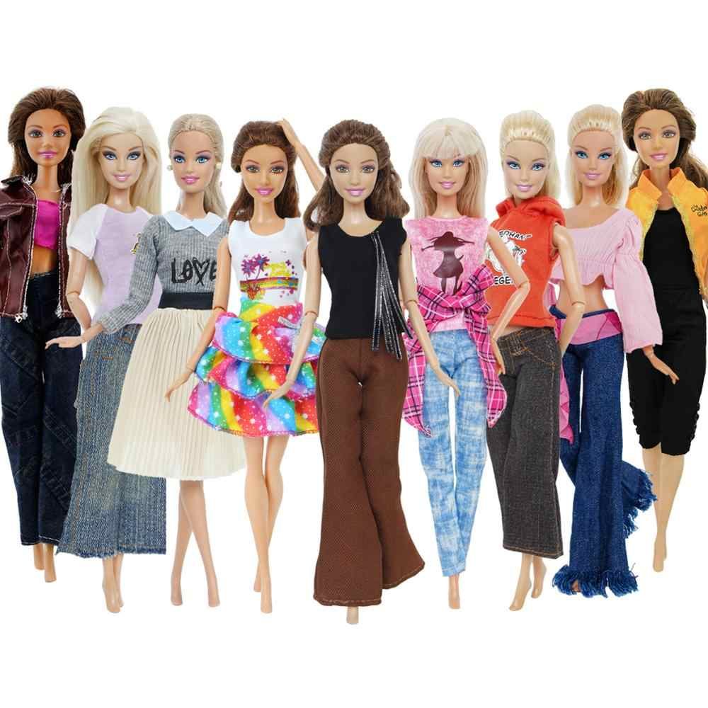 1x Fashion Doll Dress Daily Casual Wear Skirt Pants Vest Jeans Coat Dollhouse Accessories Outfit Clothes for Barbie Doll Clothes
