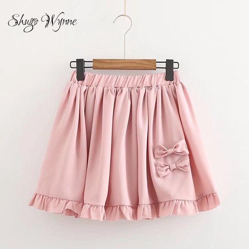 Shugo Wynne Mori Girl Skirts 2018 Summer New Women Sweet Preppy Style Elastic Waist Bowknot Pink Mini Skirt Casual Short Skirt