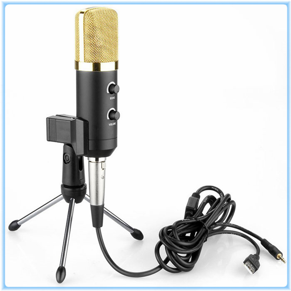 MK-F100TL MK F100TL Unidirectional Dynamic Wired Microphone Designed USB Condenser Studio Sound Recording Microphone Clear Sound  3 5mm jack audio condenser microphone mic studio sound recording wired microfone with stand for radio braodcasting singing