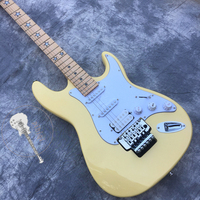 Free transportation, new electric guitar, yellow and white guitar, finger star sculpture, white hardware, vibrato system, custom