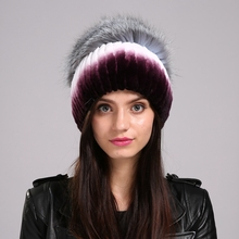 Women s Winter Hats Real Rex rabbit Solid stripes Gradient purple female cap Silver Fox Pompom