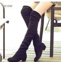 2018 Brand new Hot Women Boots Autumn Winter Ladies Fashion Flat Bottom Boots Shoes Over The Knee Thigh High Suede Long Boots(China)