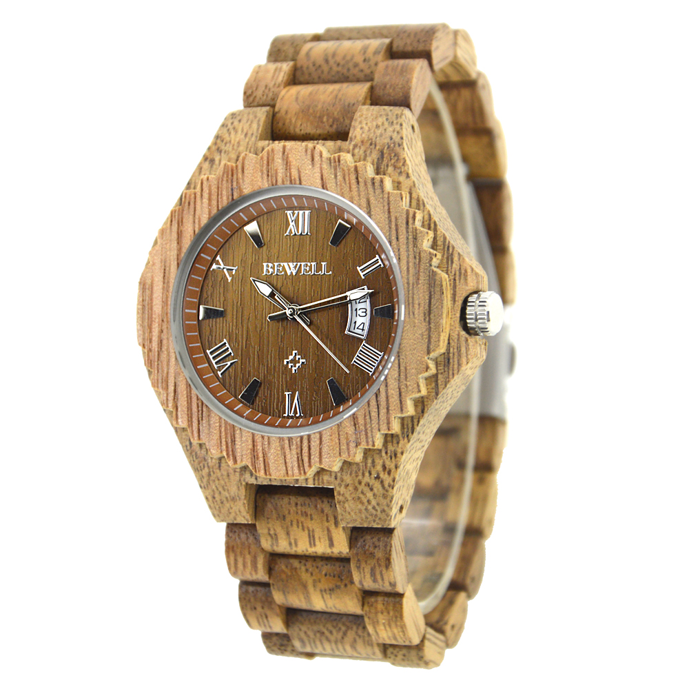 BEWELL Zebra Wooden Watch for Men Male Antique Wooden Band Fashion Japan Quartz Watches with Calendar in Gift Box 129ABEWELL Zebra Wooden Watch for Men Male Antique Wooden Band Fashion Japan Quartz Watches with Calendar in Gift Box 129A