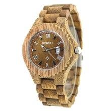 BEWELL Mens watch Wooden Watch Time Clock 129A
