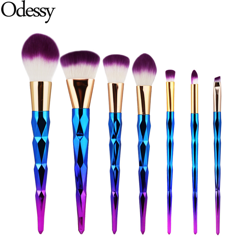 7PCS Makeup Brushes Set Diamond Rainbow Handle Cosmetic Foundation Eyeshadow Blusher Powder Blending Brush Beauty tools Kits 7 pcs cosmetic face cream powder eyeshadow eyeliner makeup brushes set powder blusher foundation cosmetic tool drop shipping