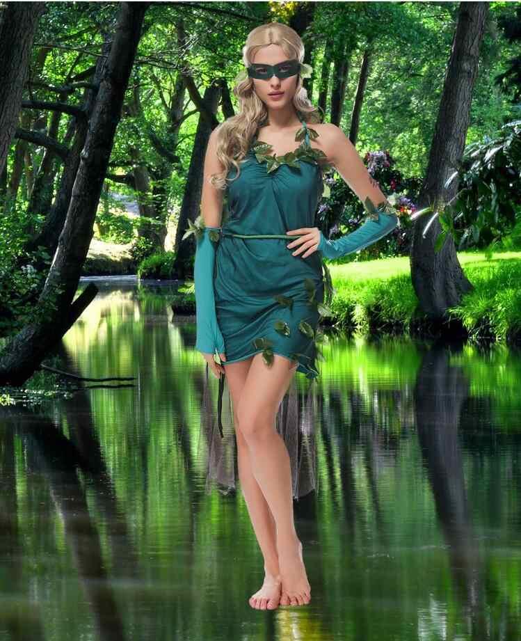 Красивый зеленый эльфийский костюм лес Godness девушки косплей платье на Хэллоуин Вечерние
