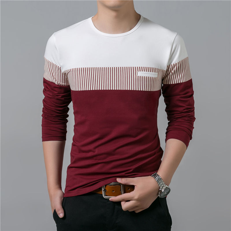 COODRONY T-Shirt Men 17 Spring Summer New Long Sleeve O-Neck T Shirt Men Brand Clothing Fashion Patchwork Cotton Tee Tops 7622 8