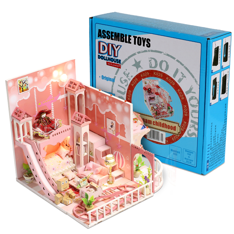 Dream Childhood Doll House Miniature Scene Wooden Puzzle DIY Toys Dollhouse Furniture Toys for Children Christmas Birthday Gifts