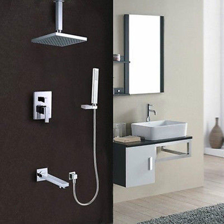 Bathroom Ceiling Rain Shower System (Shower Head, Hand Shower,Tub ...