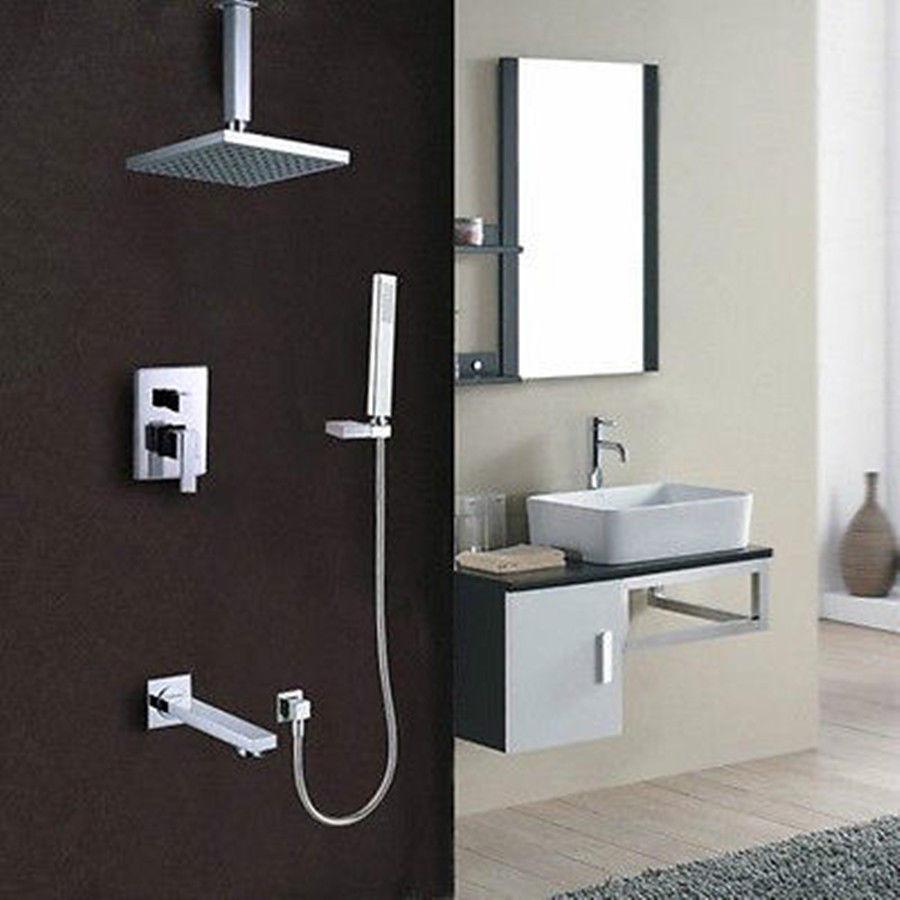 Système de douche de pluie de plafond de salle de bains (pommeau de douche, douchette, bec et Valve de robinet de baignoire) une buse dans la douche le filtre