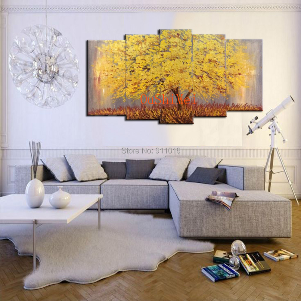 New Hand Painted Oil Painting Modern Landscape Tree Paintings Home Decor Group Of Pictures Mural Canvas Wall Art