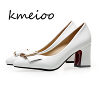 Kmeioo spring 2018 new women high heels elegant lady plaza heel shoes office pump woman pointed single shoes