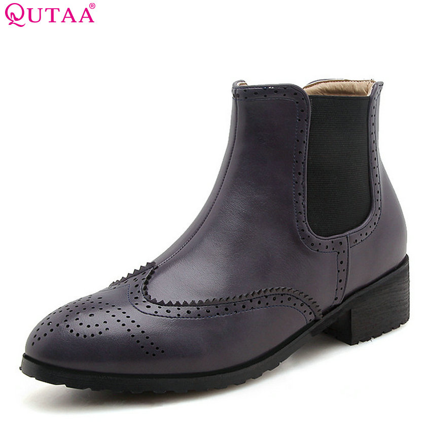 QUTAA 2019 Women Ankle Boots Pu Leather Fashion Women Shoes Platform Slip on Round Toe Winter Boots Women Boots Big Size 34-43