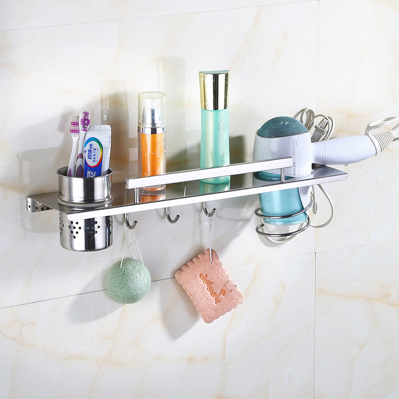 Multi-function 304 Stainless Steel Bathroom Shelf Wall Mounted Hair Dryer Holder Comb Storage With Hooks 38/48 Cm Polish Finish