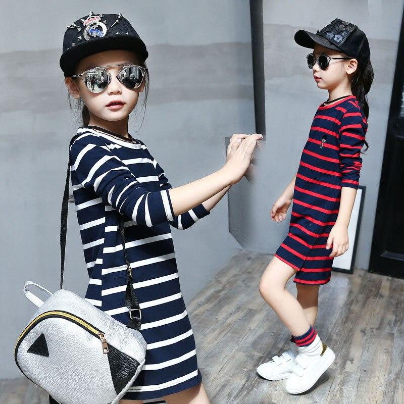 Хлопчатобумажное платье для девочек в полоску с длинным рукавом