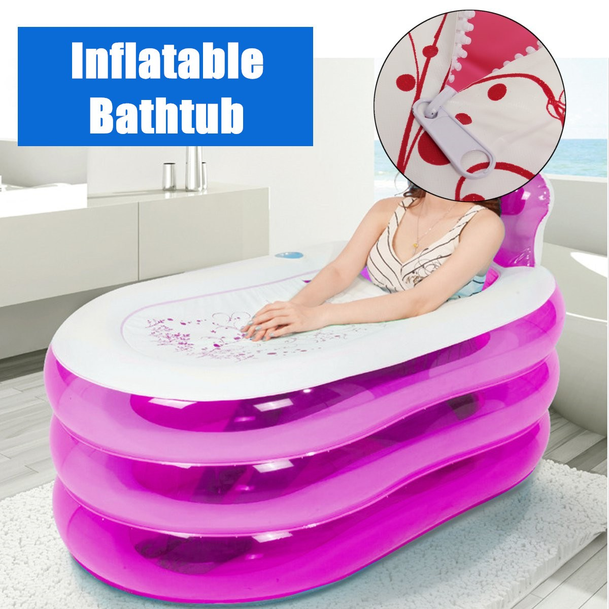 Inflatable Bathtub Adult PVC Folding Portable Steam Spa Sauna Bath tub bathtub Home hot tub ...