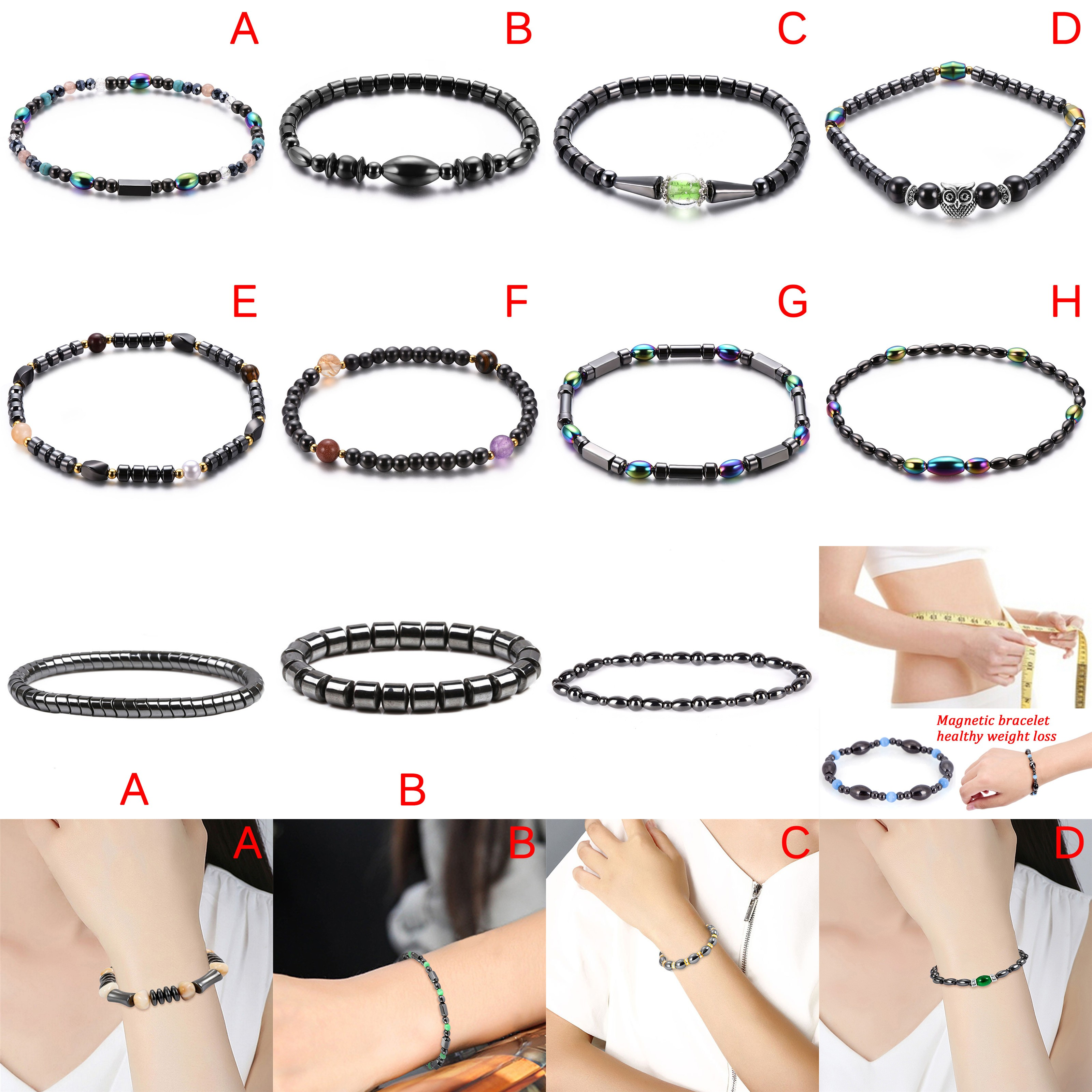 Multi-color Magnetic Therapy Bracelet Adjustable Weight Loss Bracelet Round Black Stone Health Care Luxury Slimming Product
