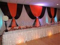 10FT x 20ft Ice Шелковый белое свадебное фон Шторы с черной и красной Пелерина свадебное оформление сцены