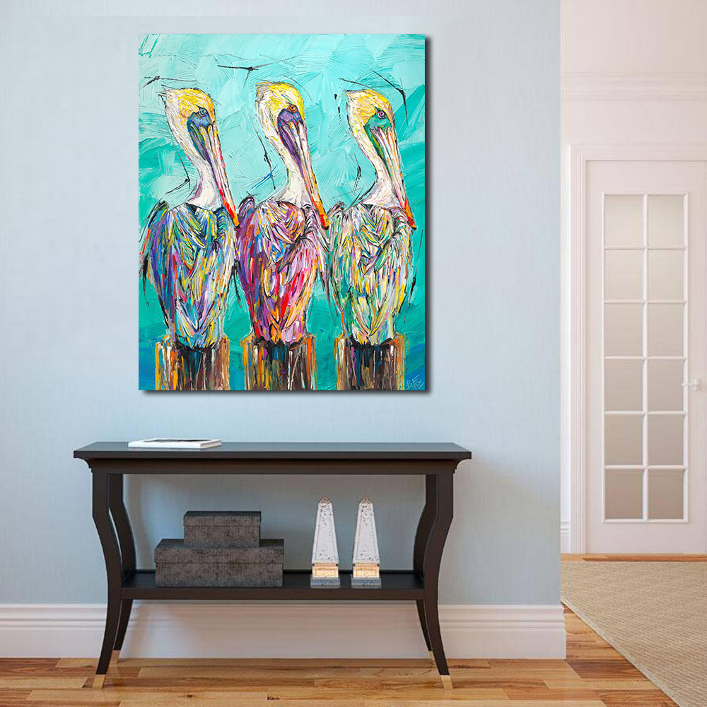 Jqhyart fashion art three of a kind pelicans wall art - What type of paint for living room walls ...