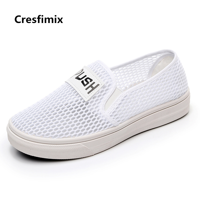 Cresfimix zapatos de mujer women fashion air mesh breathable flat shoes lady casual street slip on shoes female white cute shoes women cool mesh breathable shoes female sport and outdoor soft bottom shoes lady casual slip on shoes zapatos de mujer