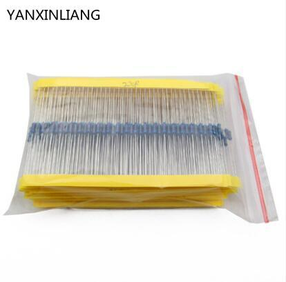 Total 600pcs 1% 1/4W Metal Film <font><b>Resistor</b></font> Assorted Kit 30 Values (10 Ohm ~1M Ohm) ,20pcs Each value image