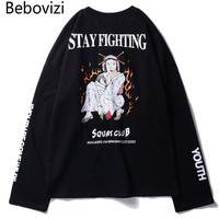 Bebovizi Brand 2018 Autumn Japanese Streetwear Style Ukiyo E Print T Shirts Hip Hop Harajuku Cotton Loose Long Sleeved Tshirt