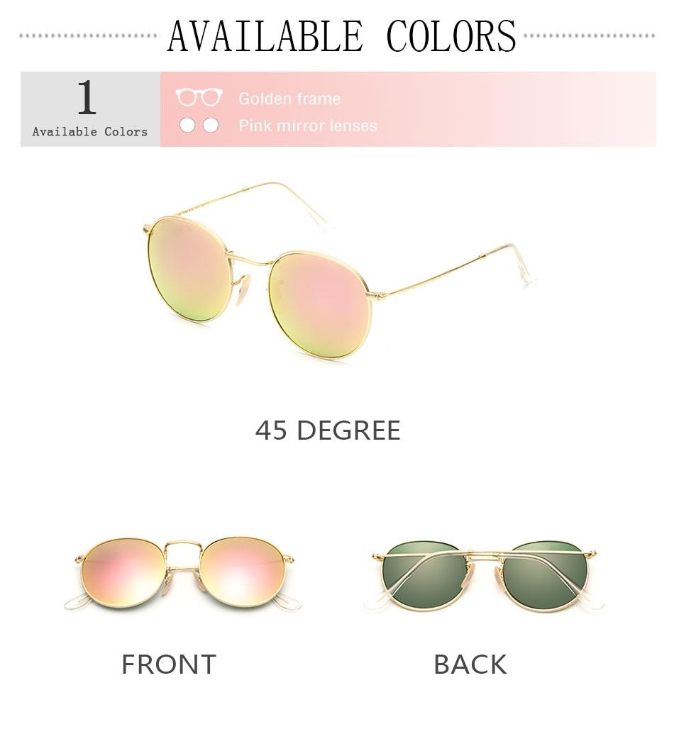 HTB1ZXDlcTnI8KJjSszgq6A8ApXag - Luxury Round Sunglasses Women Brand Designer 2018 Retro Sunglass Driving Sun Glasses For Women Men Female Sunglass Mirror 3447